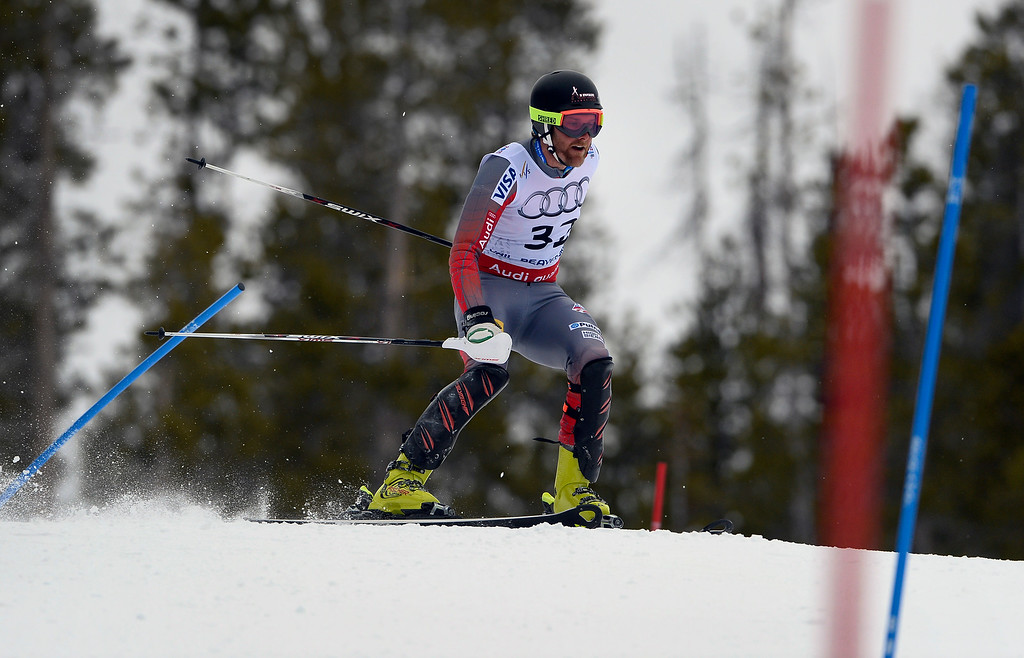 . BEAVER CREEK, CO - FEBRUARY 15: Will Brandenburg of the United States skis off course after  coming out of a gate during his first run of the Men\'s slalom during the FIS  Alpine World Ski Championships in Beaver Creek, CO. February 15, 2015. (Photo By Helen H. Richardson/The Denver Post)