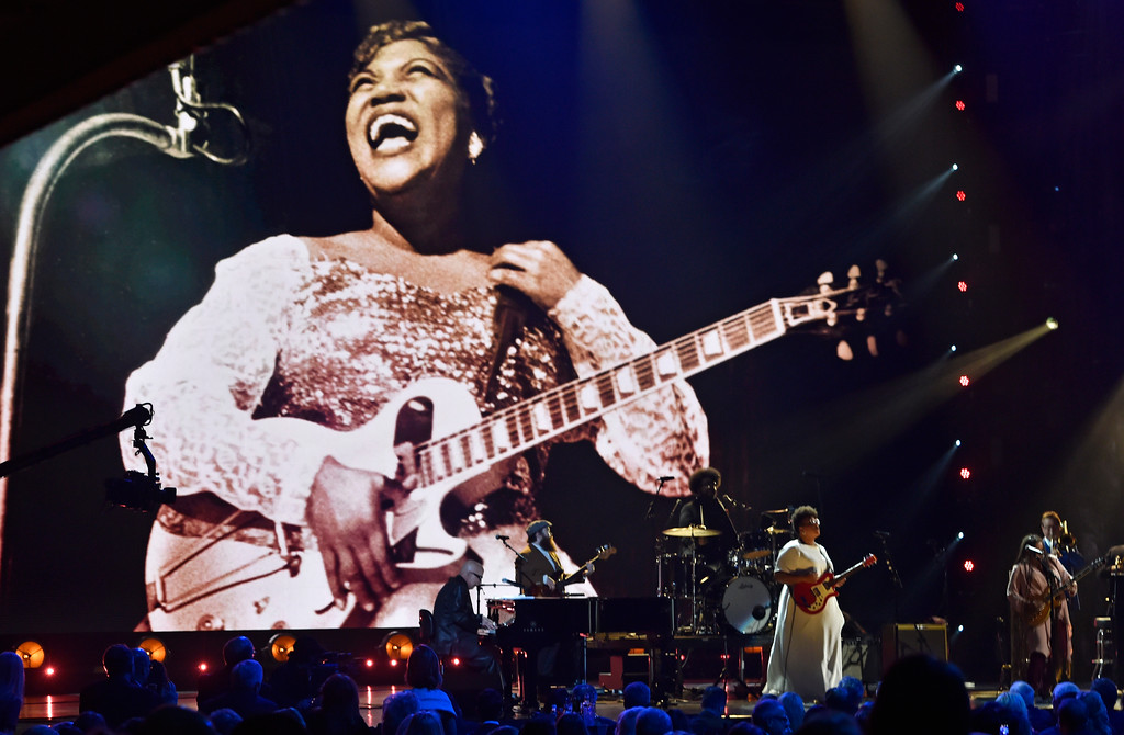 . Brittany Howard performs during the Rock and Roll Hall of Fame induction ceremony, Saturday, April 14, 2018, in Cleveland. (AP Photo/David Richard)