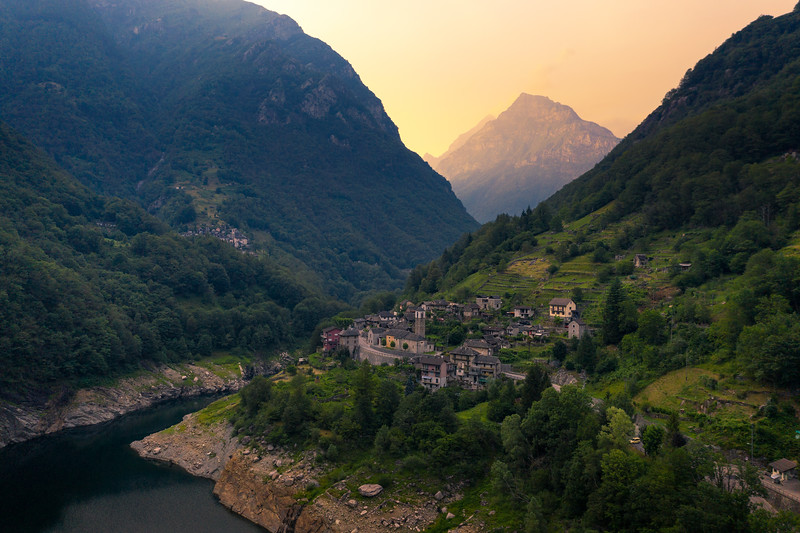 Aerial view of the village of Vogorno in the Verzasca valley in the Swiss alps
