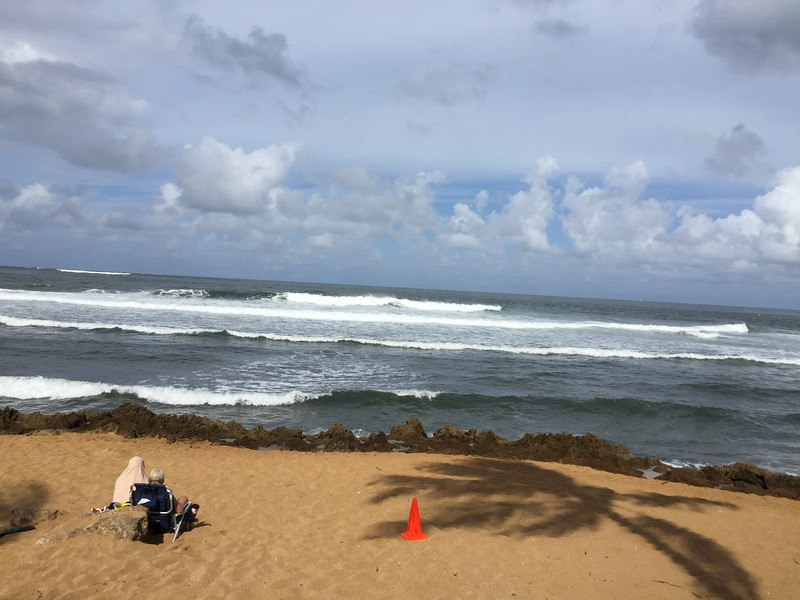 Watching the surf and listing to the commentators announce the competition