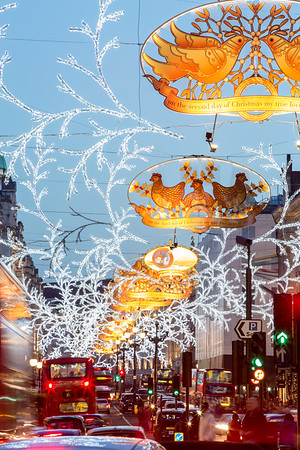 Regent Street decorated for Christmas season, London, United Kingdom