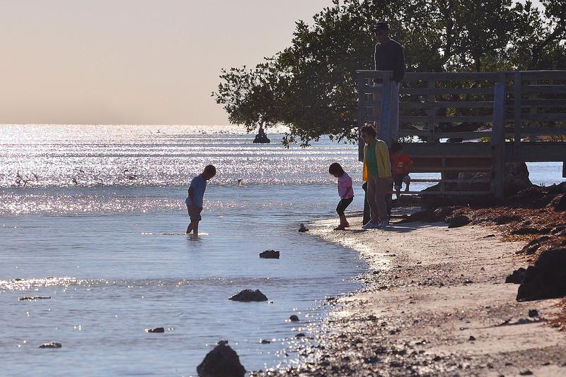 A family enjoying a cool, sunny evening