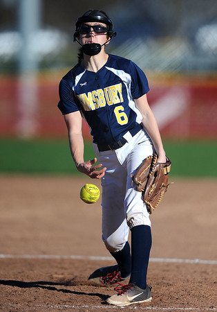 4/24/2019 Mike Orazzi | Staff Simsbury's Erin Jennings (6) during Wednesday's softball with Bristol Central in Bristol.