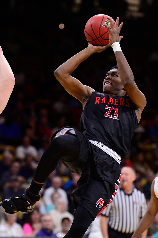 . Elijah Reed (23) of Rangeview shoots a fadeaway shot during the first quarter at the Coors Events Center on March 11, 2016 in Boulder, Colorado. (Photo by Brent Lewis/The Denver Post)