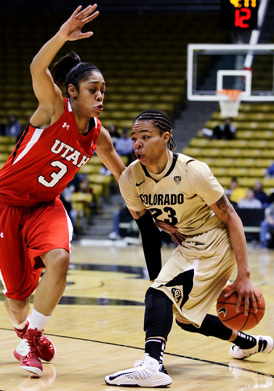 . Colorado\'s Chucky Jeffery (23) drives past Utah\'s Iwalani Rodrigues during the second half of their NCAA college basketball game, Tuesday, Jan. 8, 2013, in Boulder, Colo. Colorado won 67-57. (AP Photo/Brennan Linsley)