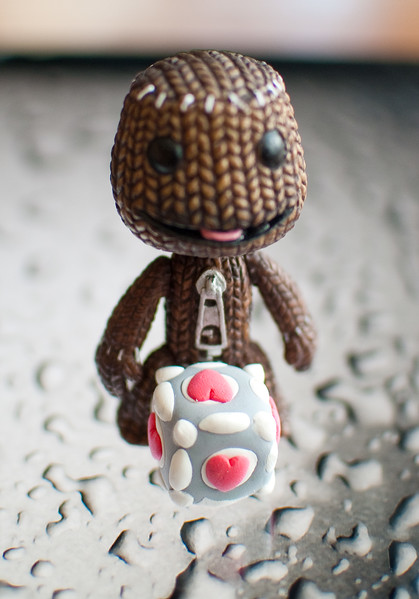Sackboy and Companion Cube