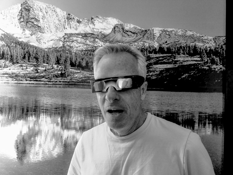 Andy, testing out solar glasses.