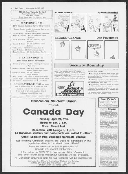 Daily Trojan, Vol. 100, No. 66, April 23, 1986
