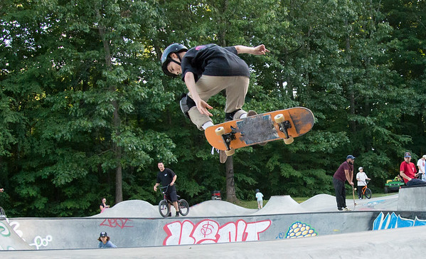 06/21/19 Wesley Bunnell | Staff New Britain held a grand opening for its Stanley Quarter Park Skate Park on Friday June 21, 2019. Cole Colison, age 12, performs a skateboard trick.