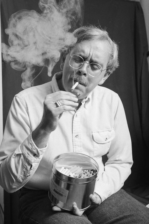 . For the past 13 years, Robert Randall, shown smoking marijuana at his home in Washington  Jan. 21, 1990, has made regular trips to a pharmacy to get legally and free, from the federal government to use the drug for medical purposes, in his case as a treatment for the blinding eye disease glaucoma. (AP Photo/Marcy Nighswander)