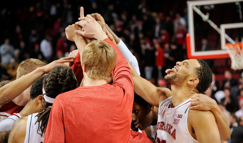 . Nebraska Cornhuskers forward Walter Pitchford (35) celebrates with his teammates after their Sunday, Jan 26, 2014 NCAA basketball game against the Minnesota Golden Gophers at the Pinnacle Bank Arena in Lincoln, Neb. (AP Photo/Dave Weaver)
