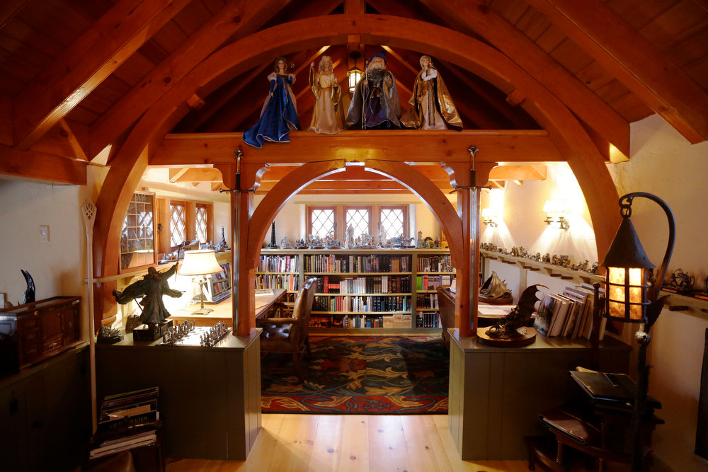 Description of . Shown is an Interior view of the ìHobbit Houseî Tuesday, Dec. 11, 2012, in Chester County, near Philadelphia. Architect Peter Archer has designed a ìHobbit Houseî containing a world-class collection of J.R.R. Tolkien manuscripts and memorabilia. (AP Photo/Matt Rourke)
