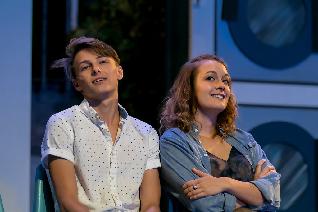 . Mason Henning, as Robbie, and Kennedy Ellis, as Velcro, perform in the Mercury Theatre Co. production of �Solo Cinders.� The show continues through June 23. For more information, visit mercurytheatrecompany.org. (Daren Stahl Photography)