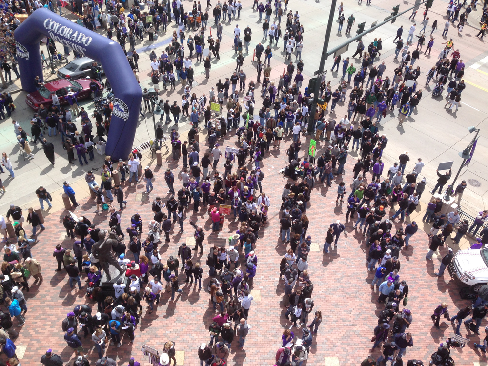 . Fans enter Coors Field for The Colorado Rockies vs. the Arizona Diamondbacks in the Rockies season home opener at Coors Field in Denver, Colorado Friday, April 4, 2014. (Photo by Craig F. Walker/The Denver Post)