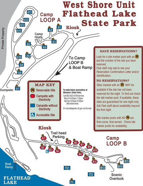 West Shore-Flathead Lake State Park (Campground Map)