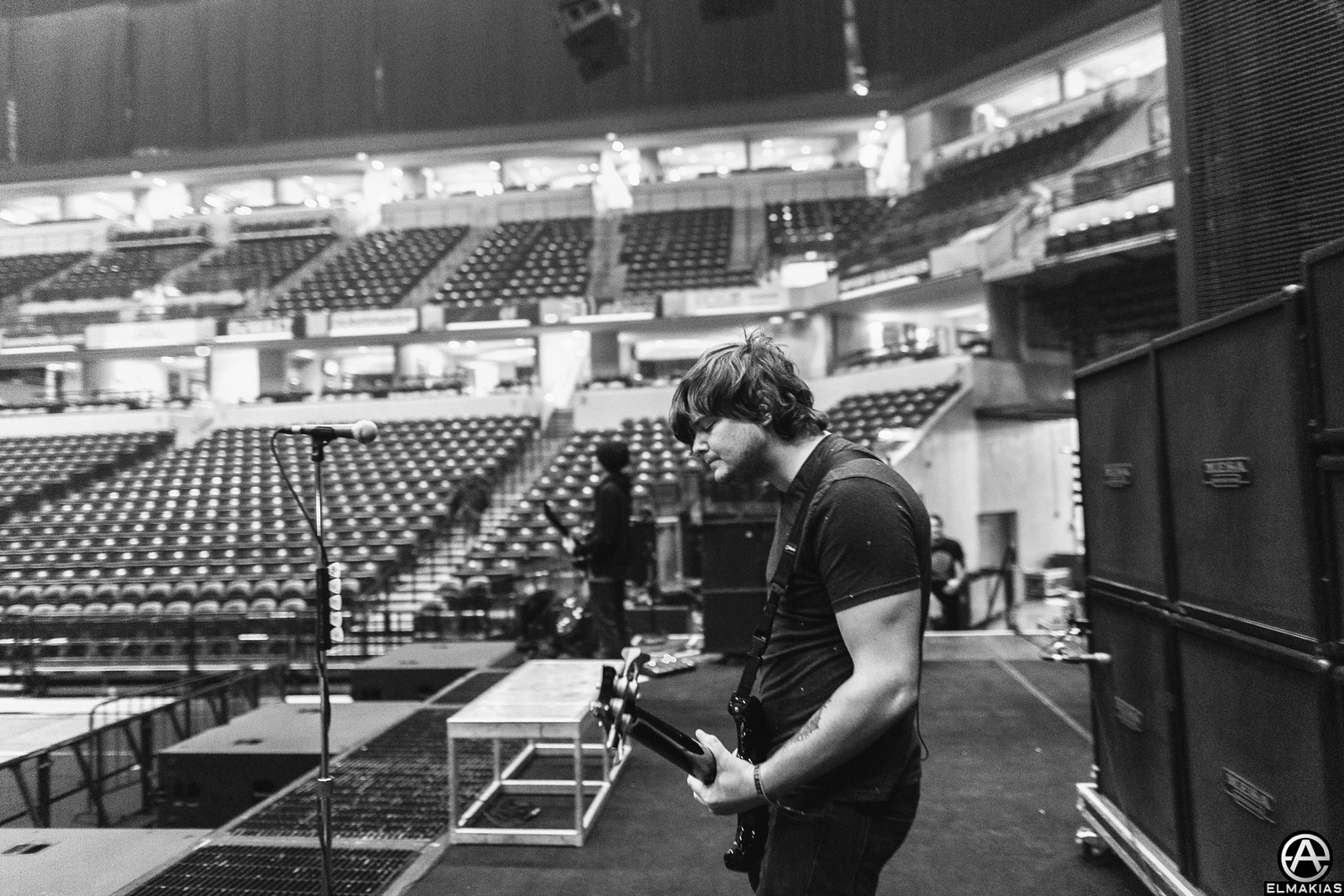 Sound check with Aaron Pauley before the Hunting Party Tour