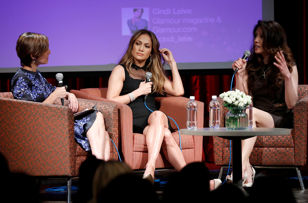 . Glamour\'s Cindi Leive, left, and singer-actress Jennifer Lopez, center, listen to her sister Lynda Lopez speak at the Mom+Social Event at 92YTribeca, Wednesday, May 8, 2013 in New York. (Photo by John Minchillo/Invision/AP)
