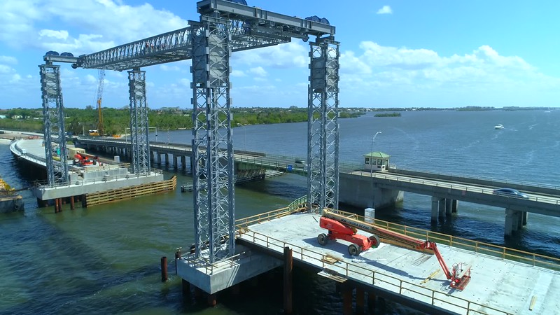 Bridge inspection construction Southern Boulevard Palm Beach FL 4k 60p