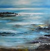 """Seascape"" by Inam, 45""x45"" oil painting on canvas"
