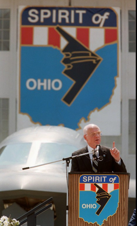 . Senator John Glenn, D-Ohio, speaks during the naming ceremony for a B-2 stealth bomber, Friday, July 18, 1997, at Wright Patterson Air Force Base in Dayton, Ohio. Senator Glenn also celebrated his 76th birthday Friday. (AP Photo/Michael Heinz)