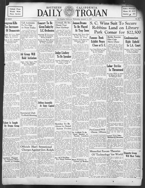 Daily Trojan, Vol. 24, No. 69, January 11, 1933