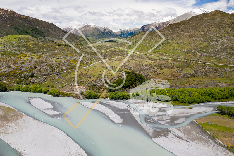 Aerial landscape looking from over the Waimakariri river along the West Coast Road in direction south