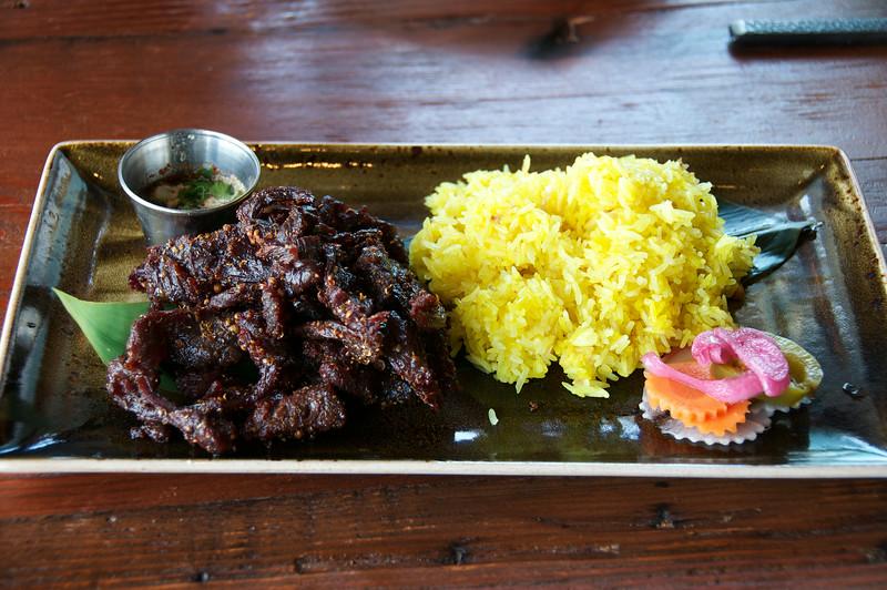 Korat Beef Jerky with Burmese Yellow Sticky Rice