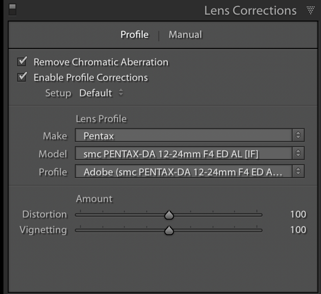 Profile Corrections Enabled in the Lens Corrections Panel