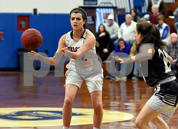 3/1/2018 Mike Orazzi   Staff St. Pauls Morgan Kolb (22) during the Class M Second Round of the CIAC 2018 State Girls Basketball Tournament with Stonington in Bristol Thursday night.