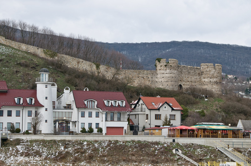 Old castle, modern houses