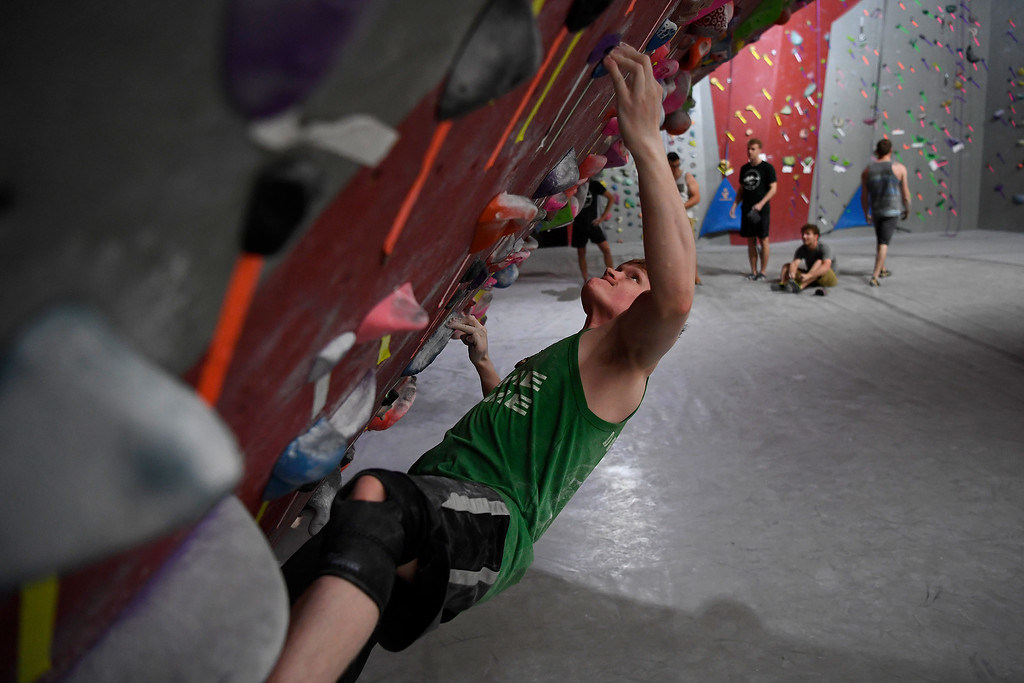 . FORT COLLINS, CO - MAY 05: CSU climber Kyle Conaty boulders on Thursday, May 5, 2016. In April, the Colorado State climbing team won the USA Climbing national title � its second straight win. (Photo by AAron Ontiveroz/The Denver Post)