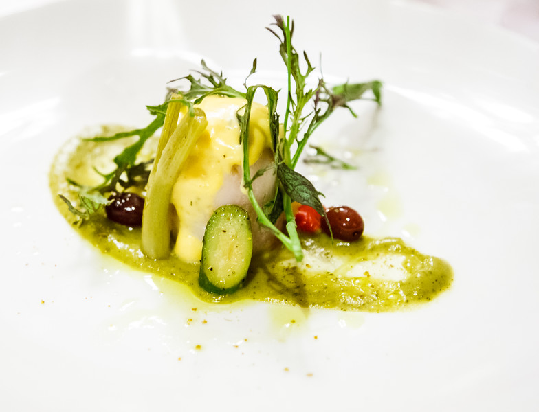 Poached Fillet of John Dory, Zucchini, Fennel, Black Olives, Wilted Mache, Bernaise Sauce