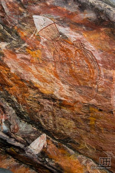 Aboriginal rock art at Mamarrkan Sisters, Ubirr