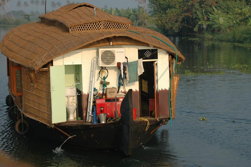 Back end of a houseboat along the backwaters of Kerala