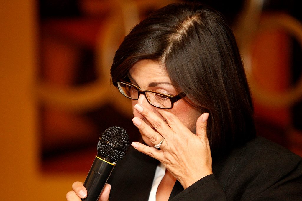 . Santa Clara County Board of Supervisors candidate Teresa Alvarado reacts as she gives an emotional thanks her suporters waiting for results at Flames Restaurant in downtown San Jose, Calif., Tuesday, July 30, 2013. (Josie Lepe/Bay Area News Group)