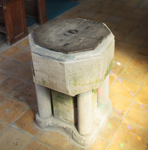 Font in Spaldwick Church, which dates from the 13th century. Photo taken by Mark Heath (July 2012)