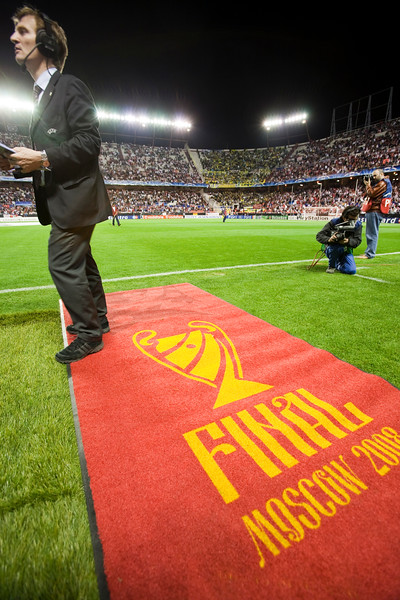 Carpet on the pitch before the UEFA Champions League first knockout round game (second leg) between Sevilla FC (Seville, Spain) and Fenerbahce (Istambul, Turkey), Sanchez Pizjuan stadium, Seville, Spain, 04 March 2008.