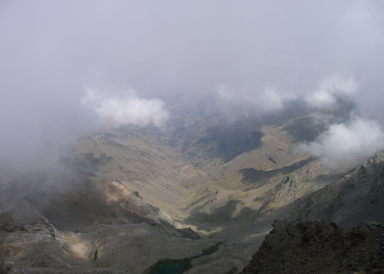 From Pico Mulhacen summit looking down on Las Siete Lagunas