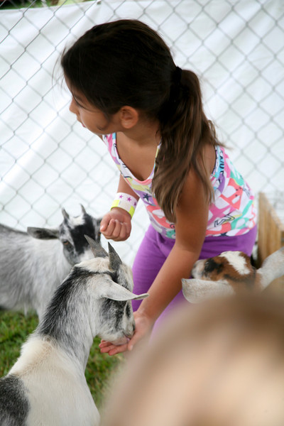 Rosa Garcia feeds goats at Petting Zoo