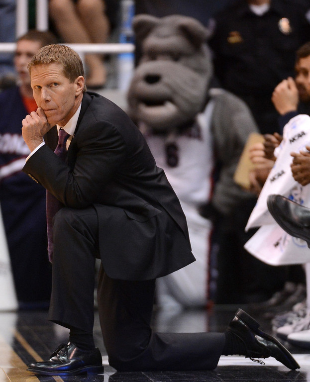 . SALT LAKE CITY, UT - MARCH 21:  Head coach Mark Few of the Gonzaga Bulldogs looks on in the first half while taking on the Southern University Jaguars during the second round of the 2013 NCAA Men\'s Basketball Tournament at EnergySolutions Arena on March 21, 2013 in Salt Lake City, Utah.  (Photo by Harry How/Getty Images)