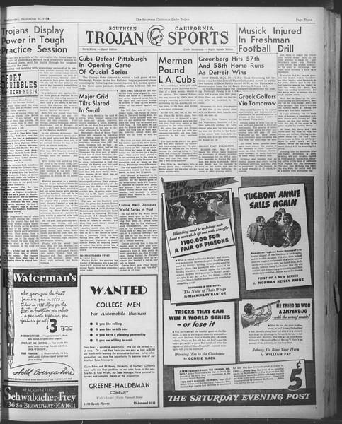 Daily Trojan, Vol. 30, No. 8, September 28, 1938