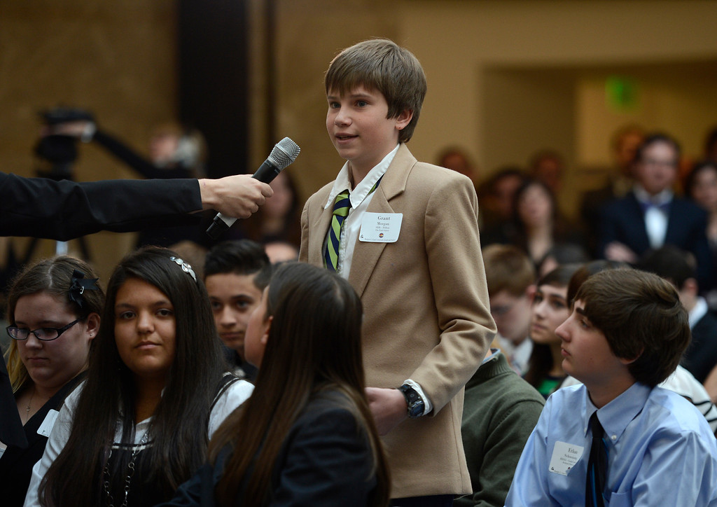 . DENVER, CO-May 02, 2013: Grant Morgan, of The Peak School in Dillon Colorado, was the first student to ask Supreme Court Justice Sonia Sotomayor a question during her visit to help dedicate the new Ralph L. Carr Colorado Judicial Center in Denver, May 02, 2013. Sotomayor meet and answered question from Colorado students during the event. (Photo By RJ Sangosti/The Denver Post)