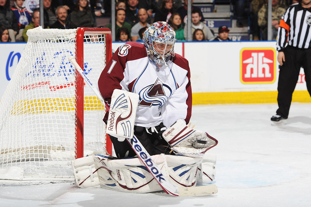 . EDMONTON, CANADA - FEBRUARY 16: Semyon Varlamov #1 of the Colorado Avalanche stops a shot from the Edmonton Oilers during the NHL game at Rexall Place on February 16, 2013 in Edmonton, Alberta, Canada. (Photo by Derek Leung/Getty Images)