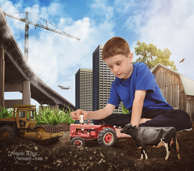 Creative Building Boy Playing with Farm Tractor