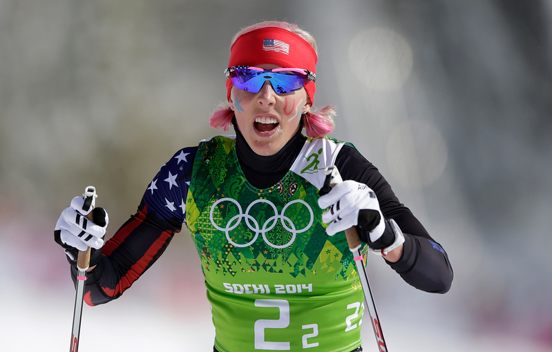 . United States\' Kikkan Randall catches her breath after a women\'s semifinal during the cross-country team sprint competitions at the 2014 Winter Olympics, Wednesday, Feb. 19, 2014, in Krasnaya Polyana, Russia. (AP Photo/Matthias Schrader)
