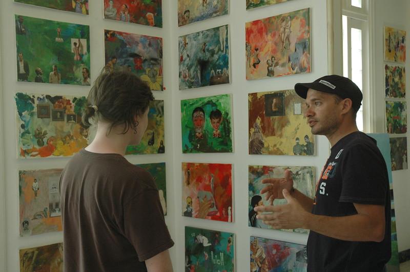 Piera with artist Kelvin Lopez - Leslie Rowley