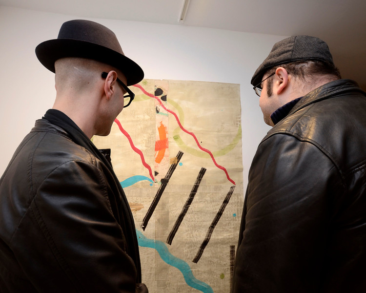 """EAST VILLAGE, NEW YORK - DECEMBER 9: """"RAW INTUITION"""" opening featuring artists Mason Saltarrelli and Chuck Manion at the TURN Gallery on December 9, 2015 in East Village, New York. (Photo by Lukas Maverick Greyson)"""