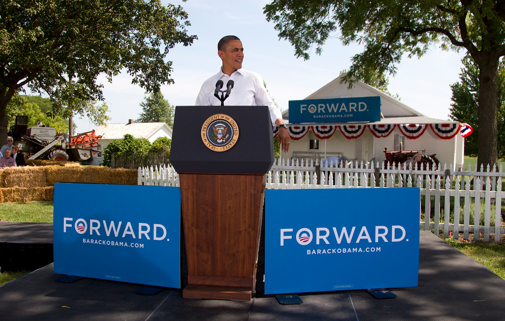 . President Barack Obama speaks during a campaign event at the Nelson Pioneer Farm & Museum, Tuesday, Aug. 14, 2012, in Oskaloosa, Iowa, during a three day campaign bus tour through Iowa.  (AP Photo/Carolyn Kaster)