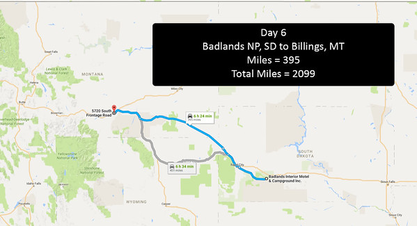 Day 6 - June 25, 2016 - Badlands NP, Drive to Billings, MT