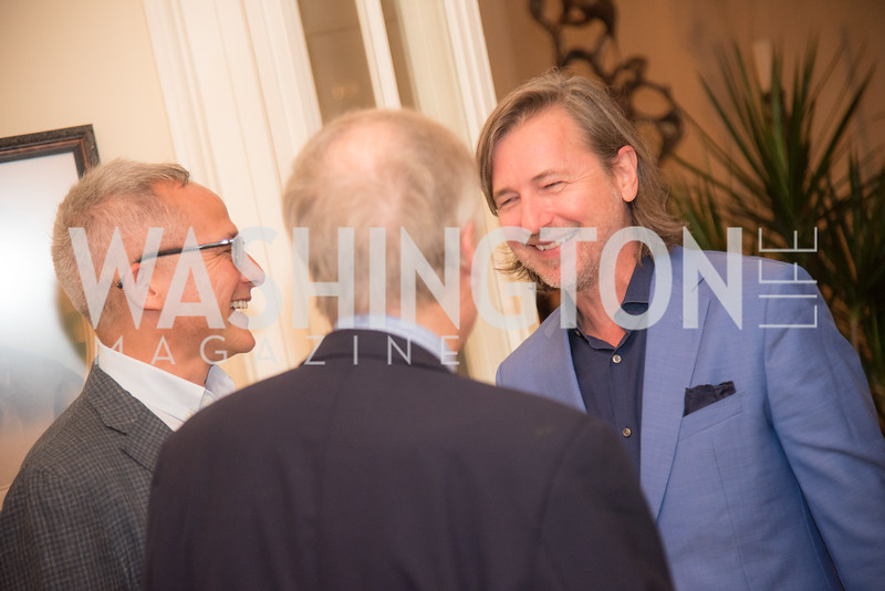 """Winston Bao Lord, Christopher Reiter, Book Party with Ambassador Winston Lord, """"Kissinger on Kissinger"""", and Jim Sciutto, """"The Shadow War"""", at the home of Juleanna Glover and Christopher Reiter.  Summer 2019, Photo by Ben Droz."""